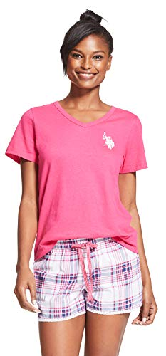 US Polo Assn. Womens 2 Piece V-Neck Short Sleeve Shirt and Short Pajama Pant Set Pink Paradise Large