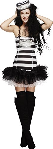 Smiffy's Women's Fever Convict Cutie Costume, Tutu Dress and Hat, Robbers, Fever, Size 2-4, 24286