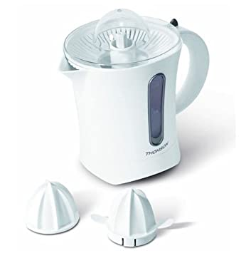 Thomson THJU06061 - Exprimidor eléctrico con 2 cabezales para cítricos (indicador de llenado, rotación dual), color blanco: Amazon.es: Hogar