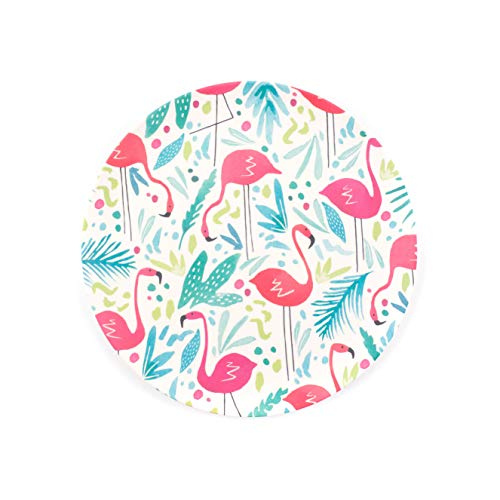 Cambridge CM06343 Eco Friendly Bamboo Dinner Plates, 25 cm, Set of 4, Flamingo Print