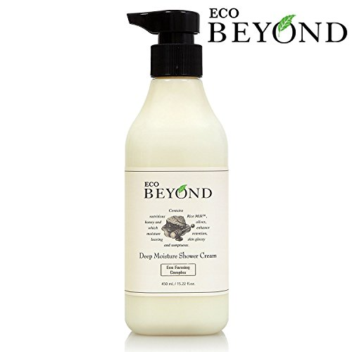 Deep Moisture Natural Body Wash, Shower Cream [ECO BEYOND] with Creamy Texture, Feminine Fragrance, and Organic Ingredients (Honey, Rice Milk, Olives) [No Paraben] 450ml/15.21oz
