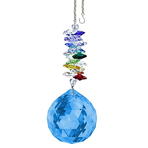 (CrystalPlace Crystal Ornament 4.5 inch Suncatcher Blue Sapphire Faceted Ball Prism Rainbow Maker Crystal Cascade Made with Swarovski Crystals)