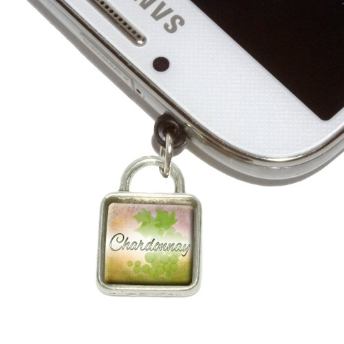 Chardonnay Grapes Wine Vine Drinking Mobile Phone Jack Square Charm Universal Fits iPhone Galaxy HTC (Chardonnay Silver)
