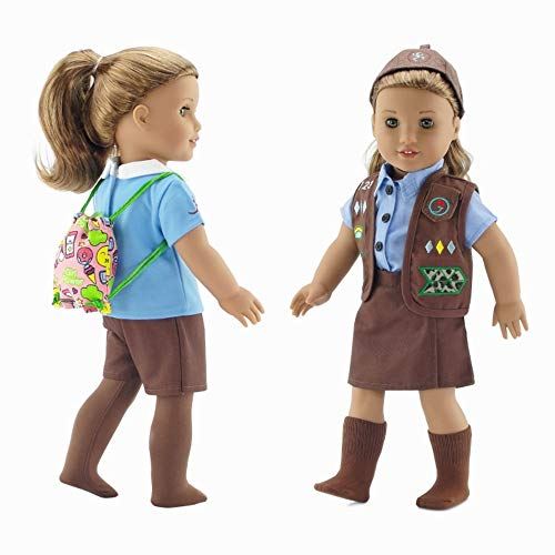- Emily Rose 18 Inch Doll Clothes | Modern Brownie Girl Scout 8 Piece Uniform and Accessory Value Pack | Fits American Girl Dolls | Gift Boxed!