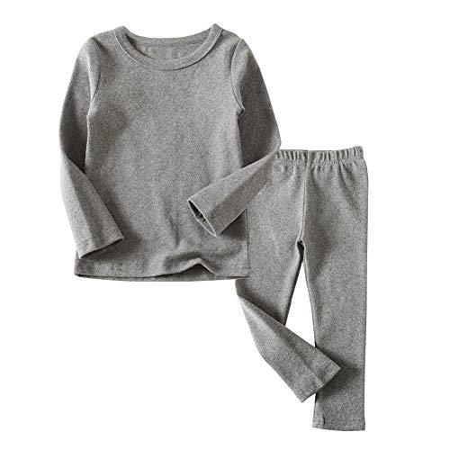 Toddler Boys Girls Thermal Underwear Long Sleeve T-Shirt Leggings 2Pcs Kids Winter Base Layer Set, (Gray,3Years)