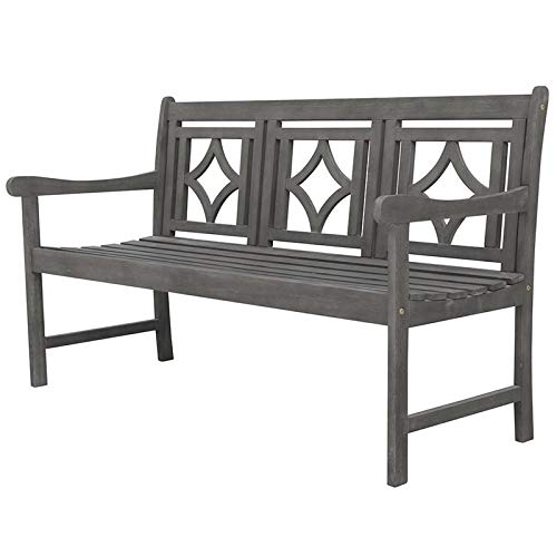 Vifah V1828 Haseley Outdoor Patio Diamond 5-Foot Hand-Scraped Hardwood Bench, Vista Grey