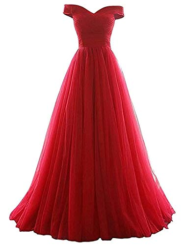 Women's A-line Tulle Prom Formal Evening Homecoming Dress Ball Gown Red