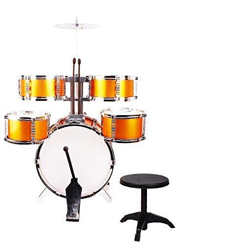 NiGHT LiONS TECH Golden Music Simulation Drum Set Golden Dump 5 pcs Educational Toys for Children Christmas Birthday Gift -