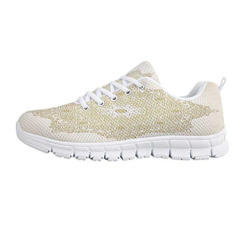 YOLIYANA Gold Mandala Jogging Running ShoesAntique Lace Pattern Blooming Asian Garden Theme Filigree Style Traditional Decorative Sneakers for Girls Womens,US 10