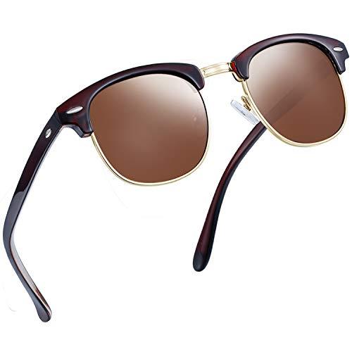 Joopin Semi Rimless Polarized Sunglasses Women Men Retro Brand Sun Glasses (Brown)