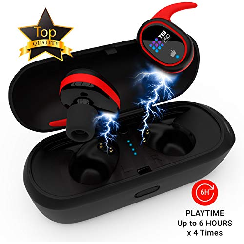 Upgraded 2019 True Wireless Bluetooth Earbuds – 24 Hours Playtime Quality Stereo Sound – Latest 5.0 Strong Connection, Memory-Foam Earmuffs Headphones – Truly in-Ear Earphones, Built-in Microphone