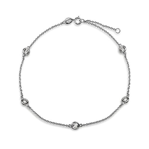 Cubic Zirconia CZ By The Inch Anklet Link Station Ankle Bracelet For Women 925 Sterling Silver 9-10 Inch Adjustable