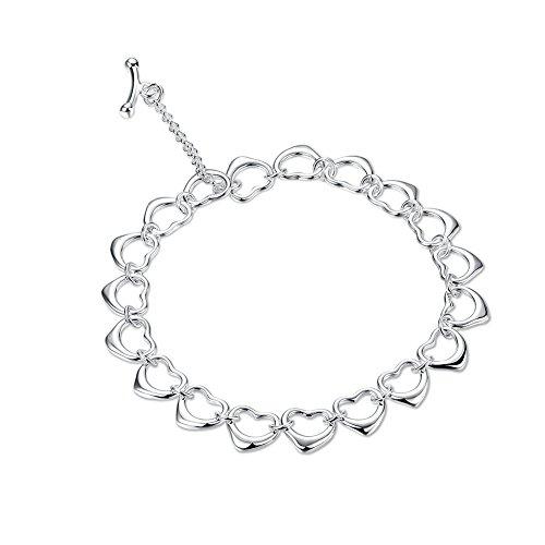 Fashion Love Little Heart Bangle Bracelet Unique Girl Popular Jewelry Silver Plated