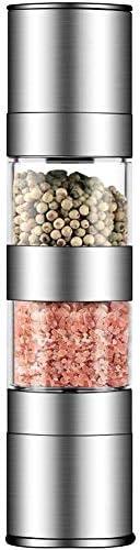 Iycorish 2in1塩とコショウグラインダーセット、ステンレス鋼塩グラインダー 調節可能なセラミックローター、ソルトミル、ペッパーミルシェーカー、デュアルミルスパイスジャー付き