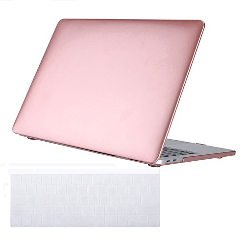 MacBook Pro 13 Case 2017 & 2016 Release A1706 & A1708, Frosted Plastic Hard Case Shell Cover and Keyboard Skin Cover for Newest MacBook Pro 13 Inch with/without Touch Bar & Touch ID - Rose Gold by MYUS