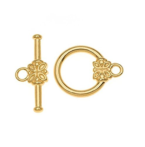 Set Eyelet Brads (10 Sets x Top Quality Flower Round Toggle Clasps, 15mm, 14k Gold Plated, CF182)