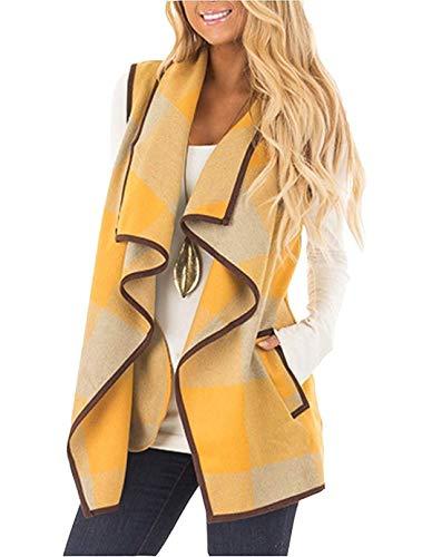 Cotton Cardigan Sweater - Rvshilfy Women's Color Block Lapel Open Front Sleeveless Plaid Vest Cardigan with Pockets (Yellow, Medium)