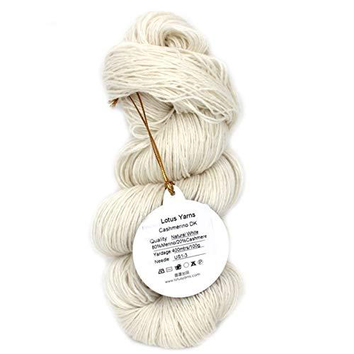 (Lotus Yarns 416 Undyed 80% Merino 20% Cashmere Blended Handknitting Yarn (NAT White - Undyed 80/20MerinoCashmere))