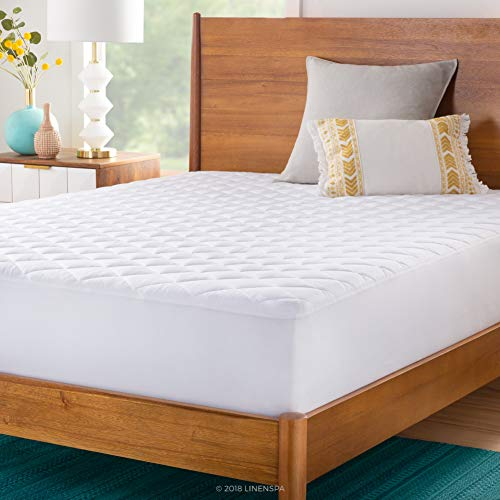 LINENSPA Plush Microfiber Mattress Pad - Hypoallergenic Fill - Deep Pocket Fitted Skirt - Twin (Target Air Mattress)