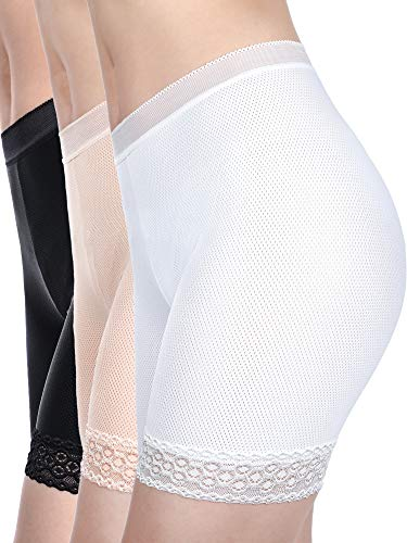 3 Pieces Lace Shorts Underwear Yoga Shorts Stretch Safety Leggings Undershorts for Women Girls (Set 4, S - M Size)