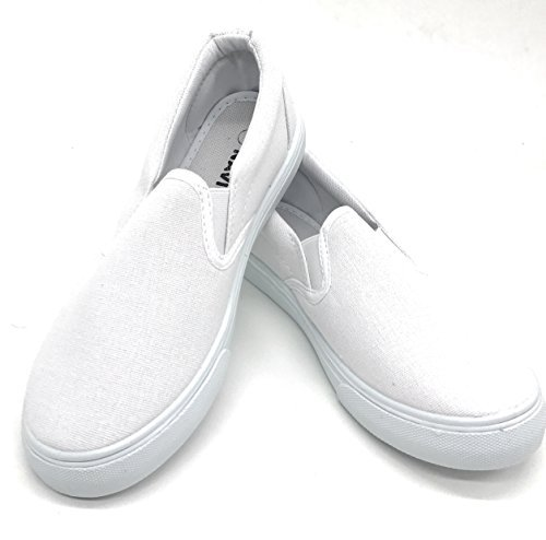 Blue Berry EASY21 Women Canvas Round Toe Slip on Flat Sneaker Oxford Boat Shoe,White61,Size 8 (Canvas Flat Shoes)