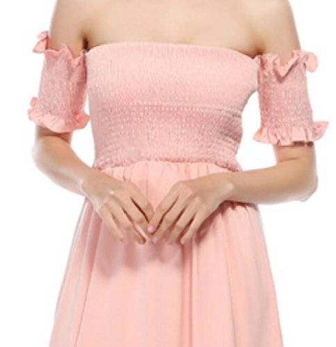 Dress Beach Classic Wedding Floral The Split Pink Maxi Party Off Women Shoulder Jaycargogo Chiffon wzvnZqUx5P