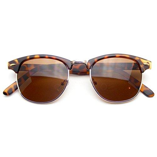 Emblem Eyewear® - Premium Half Frame Horn Rimmed Remaches De Metal Gafas De Sol