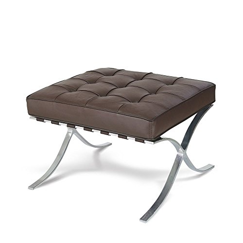 Artis Decor Premium Modern Pavilion Ottoman Made from Imported Top Grain Italian (Designer Style Leather Loveseat)