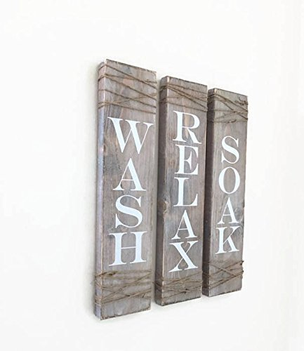 Rustic Bathroom SignsSET OF THREE Farmhouse Decor Wash Soak Relax Signs