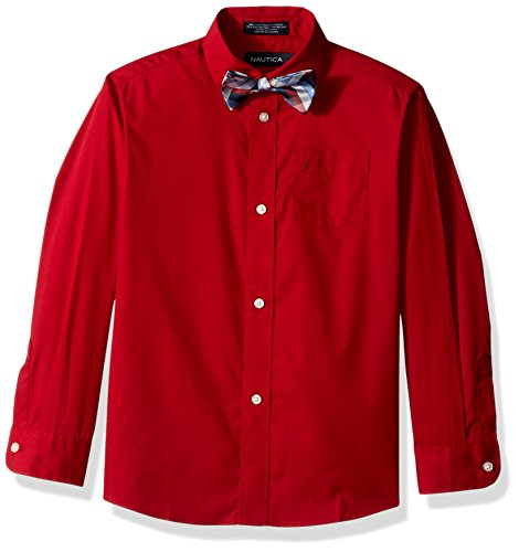 Nautica Boys' Little Long Sleeve Dress Shirt with Bow Tie, Roasted Rouge, 4