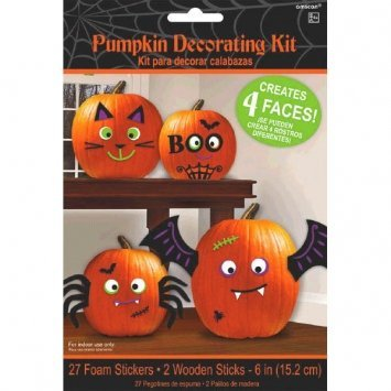 Silly Faces Pumpkin Decorating Kit - Makes 4 Jack-o-lantern Faces (Includes 27 Foam Stickers & 2 Wooden Sticks) by Amscan