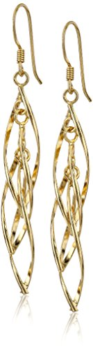 Gold Plated Sterling Silver Linear Swirl French Wire Drop Earrings
