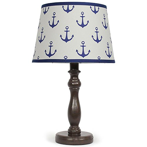 Navy Blue Anchor Nursery Lamp Shade with Contoured Espresso Base, Bulb Included by The Peanut Shell