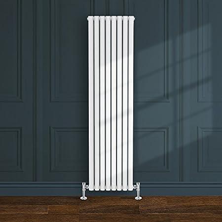 Simple Home | 1800 x 472 mm Radiador diseño Borvo brillante blanco horizontal panel soltero oval
