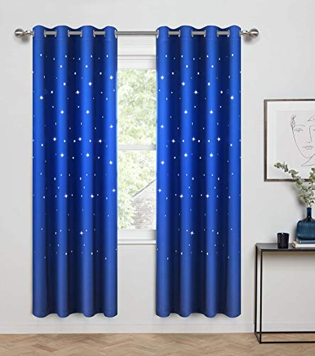 (Anjee Blackout Curtains with Die Cut Stars for Bedroom-Starry Night Sleep-Enhancing Cosmic Themed Twinkle Drapes for Baby Nursery, Light Blocking Draperies (2-Panel W52 x L84 Inch, Royal Blue) )