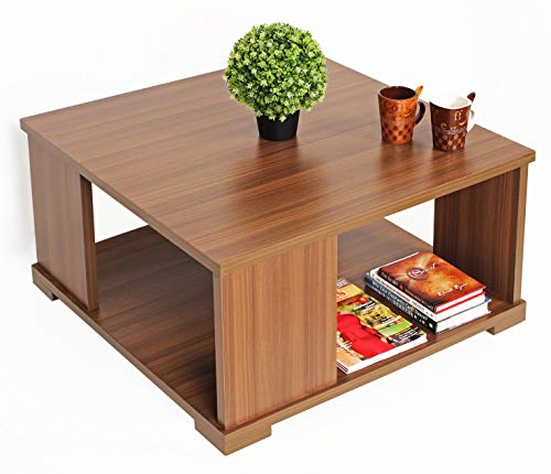 BLUEWUD Noel Engineered Wood Coffee Table/Centre Table with Shelves (Square – Walnut)