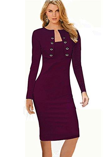 [Merope J Womens Button Decor Long Sleeves Wrapped Midi Vogue Dress ( XL,Purple)] (1970s Tennis Costume)