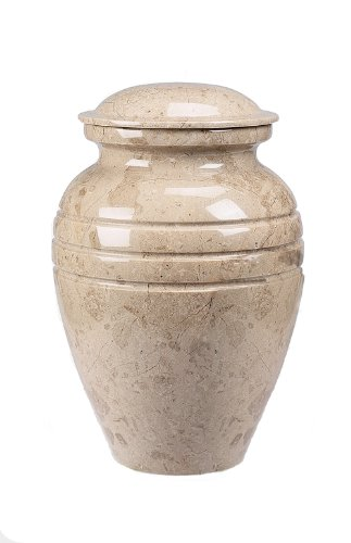 Star Legacy Classic Cream Grain Large Marble Vase Adult Funeral Cremation Urn for Human Ashes ()