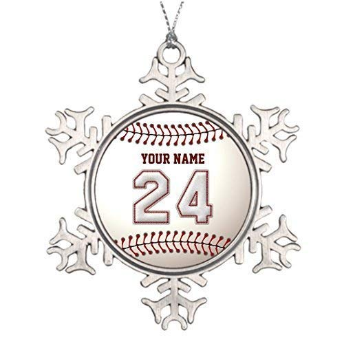 wonbye Christmas Ornaments 2018, Ideas for Decorating Baseball Stitches Player Number and Custom Name Unique Toppers Player Pattern Metal Snowflake Tree Decoration