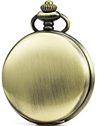 Vintage Smooth Face Pocket Watch Classic Gift with Brand Leather Box (Bronze)