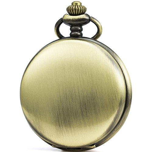 SEWOR Vintage Smooth Face Pocket Watch Classic Gift With Brand Leather Box