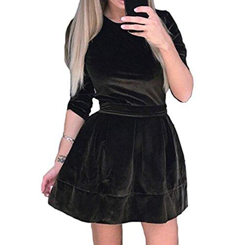 hibote Vestidos de terciopelo de las mujeres Elegantes 3/4 manga de cuello redondo Belted Velvet Fit y vestido de la llamarada marrón