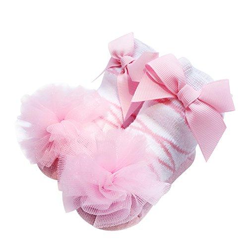 Vimuntado Baby Girls Bootie Sock Cotton Newborn Infant Ruffle Lace Bow Socks 12m (0-12 Months, SOCKAD004-PK) -
