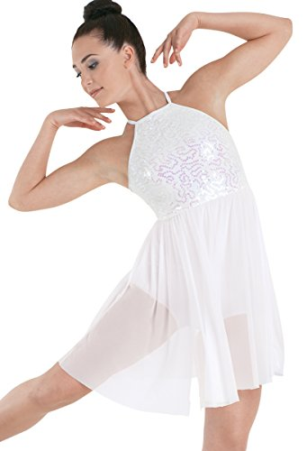 [Balera Dance Dress Sequin Lace Bodice with Empire Waist and Built-In Brief White Adult Medium] (Dance Costumes For Competition For Adults)
