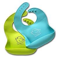 Babero de silicona resistente al agua se limpia fácilmente! Cómodos baberos suaves para bebés ¡Mantener las manchas apagadas! ¡Pase menos tiempo limpiando después de las comidas con bebés o niños pequeños! Set de 2 colores (verde lima /turquesa)