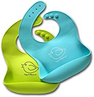 Silicone Baby Bibs Easily Wipe Clean - Comfortable Soft Waterproof Bib Keeps Stains Off, Set of 2 Colors (Lime Green/Turquoi