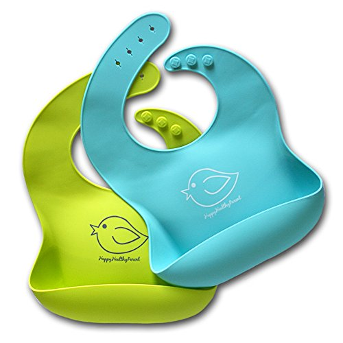 Waterproof Silicone Bib Easily Wipes Clean! Comfortable Soft Baby Bibs Keep Stains Off! Spend Less Time Cleaning after Meals with Babies or Toddlers! Set of 2 Colors (Lime Green / Turquoise) from Happy Healthy Parent