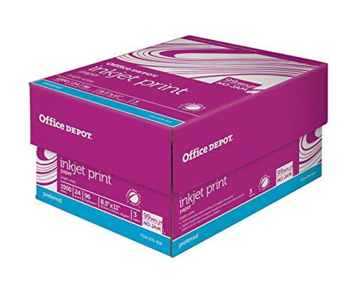 Office Depot Inkjet Print Paper, 8 1/2in. x 11in, 24 Lb, 30% Recycled, 500 Sheets Per Ream, Case of 3 Reams, 751382 by Office Depot