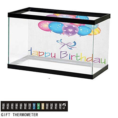 Jinguizi BirthdayFish Tank BackdropBalloon Bouquet with Stars and Heart Shapes Best Wishes Joyful Happy Event Print36 L X 16