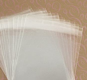 MyCraftSupplies 4 5/8 x 5 3/4 A2 + Envelope Size Resealable Clear Cello Bags - Set of 100 - Tape Strip on Body